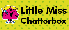 Mr Men and Little Miss name tag Little Miss Chatterbox design