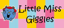 Mr Men and Little Miss name tag Little Miss Giggles design