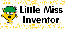 Mr Men and Little Miss name tag Little Miss Inventor design