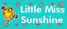 Mr Men and Little Miss name tag Little Miss Sunshine design