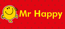Mr Men and Little Miss name tag Mr Happy design