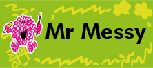 Mr Men and Little Miss name tag Mr Messy design