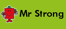 Mr Men and Little Miss name tag Mr Strong design